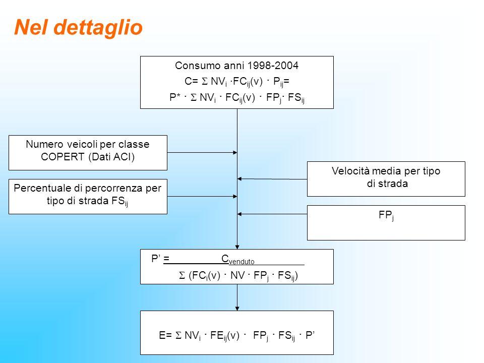Nel dettaglio Consumo anni 1998-2004 C= NV i ·FC ij (v) · P ij = P* · NV i · FC ij (v) · FP j · FS ij P = C venduto 1 (FC i (v) · NV · FP j · FS ij )