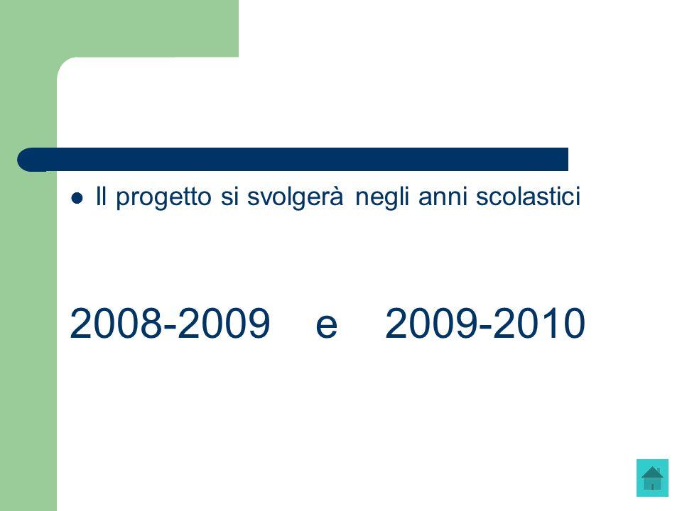 Il progetto si svolgerà negli anni scolastici 2008-2009 e 2009-2010