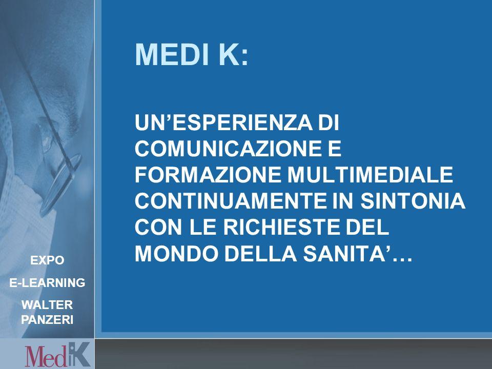 MEDI K: UNESPERIENZA DI COMUNICAZIONE E FORMAZIONE MULTIMEDIALE CONTINUAMENTE IN SINTONIA CON LE RICHIESTE DEL MONDO DELLA SANITA… EXPO E-LEARNING WALTER PANZERI