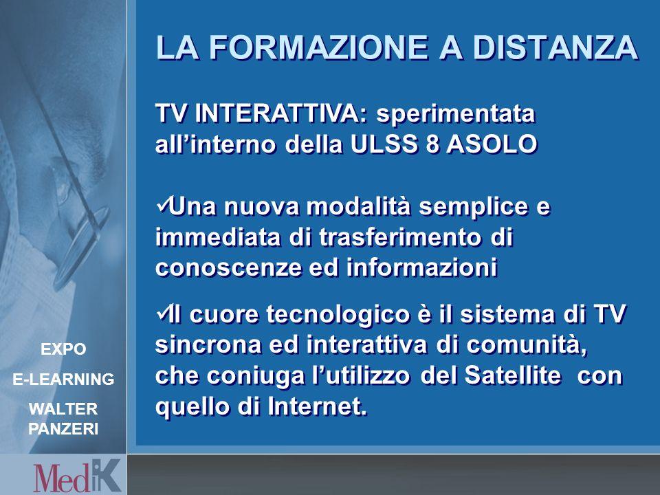 LA FORMAZIONE A DISTANZA TV INTERATTIVA: sperimentata allinterno della ULSS 8 ASOLO Una nuova modalità semplice e immediata di trasferimento di conoscenze ed informazioni Il cuore tecnologico è il sistema di TV sincrona ed interattiva di comunità, che coniuga lutilizzo del Satellite con quello di Internet.