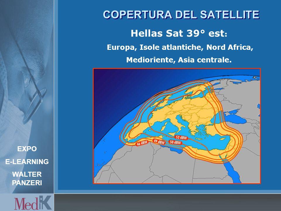 COPERTURA DEL SATELLITE Hellas Sat 39° est : Europa, Isole atlantiche, Nord Africa, Medioriente, Asia centrale.