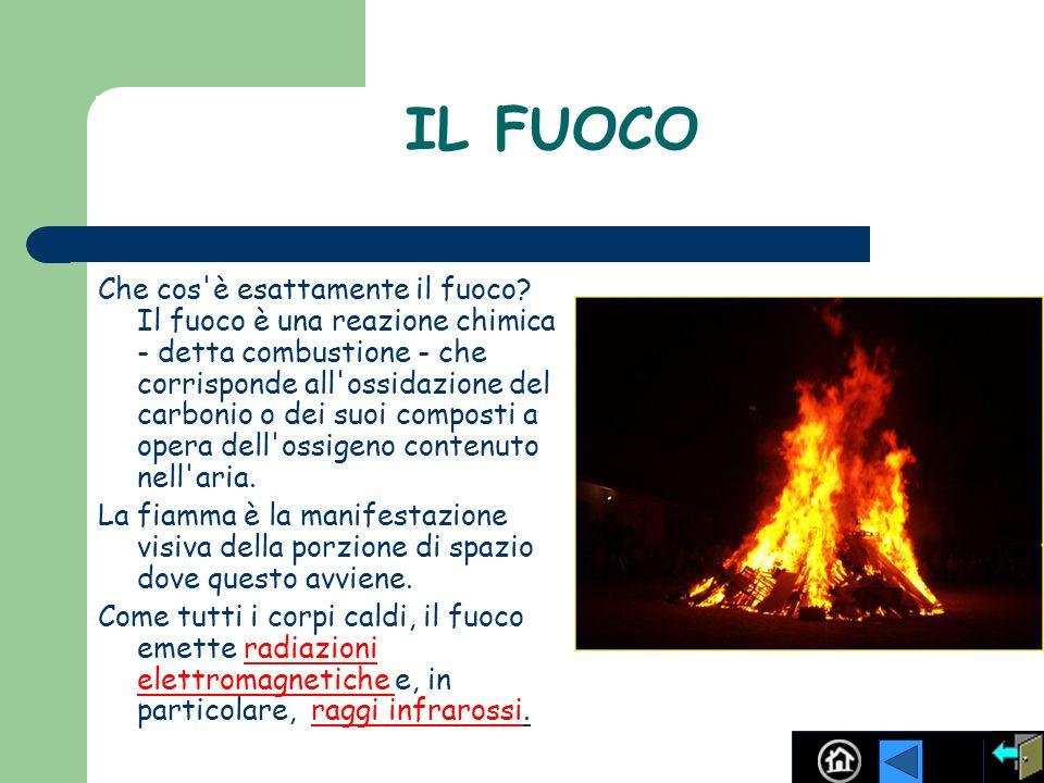 IL FUOCO Che cos'è esattamente il fuoco? Il fuoco è una reazione chimica - detta combustione - che corrisponde all'ossidazione del carbonio o dei suoi
