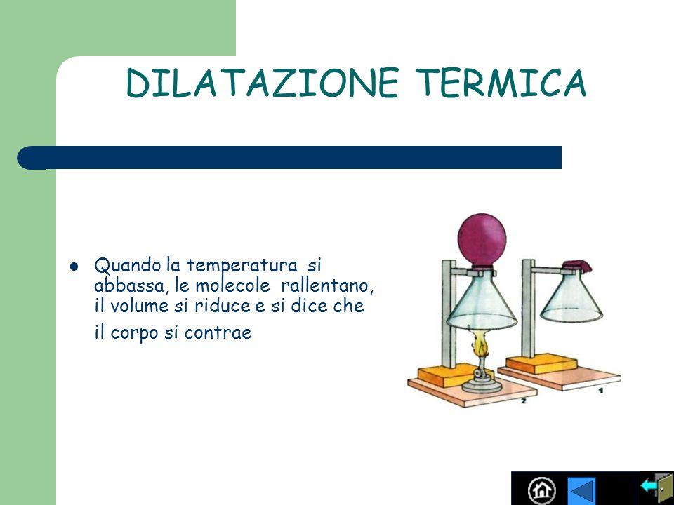 DILATAZIONE TERMICA Quando la temperatura si abbassa, le molecole rallentano, il volume si riduce e si dice che il corpo si contrae
