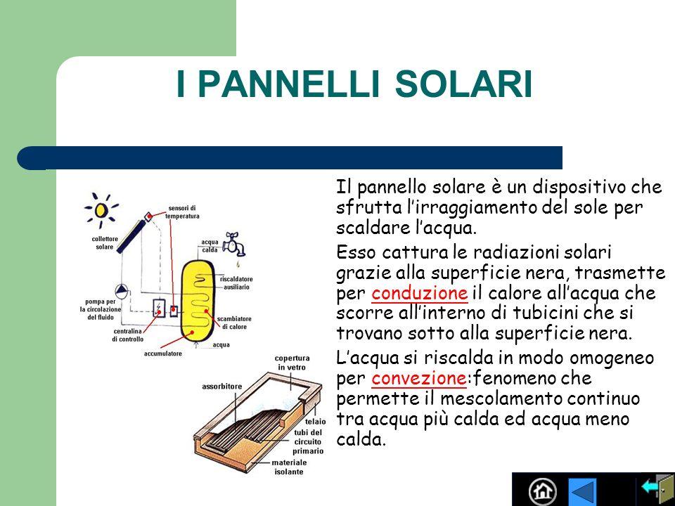 I PANNELLI SOLARI Il pannello solare è un dispositivo che sfrutta lirraggiamento del sole per scaldare lacqua. Esso cattura le radiazioni solari grazi