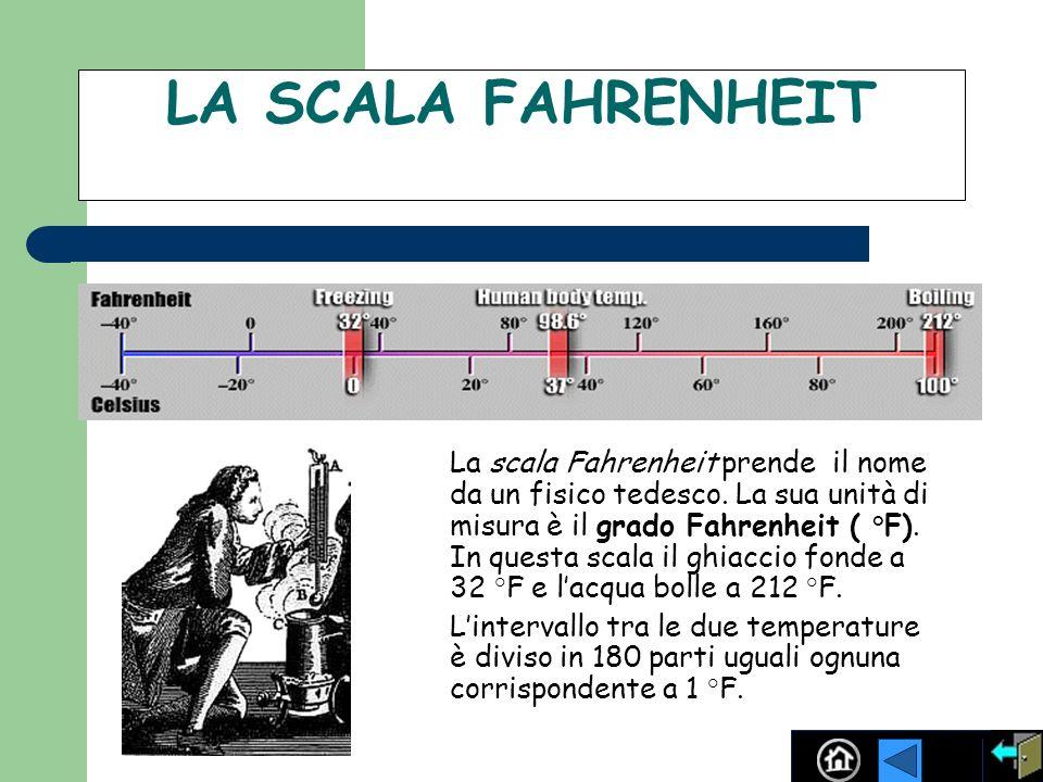 LA SCALA FAHRENHEIT La scala Fahrenheit prende il nome da un fisico tedesco. La sua unità di misura è il grado Fahrenheit ( °F). In questa scala il gh