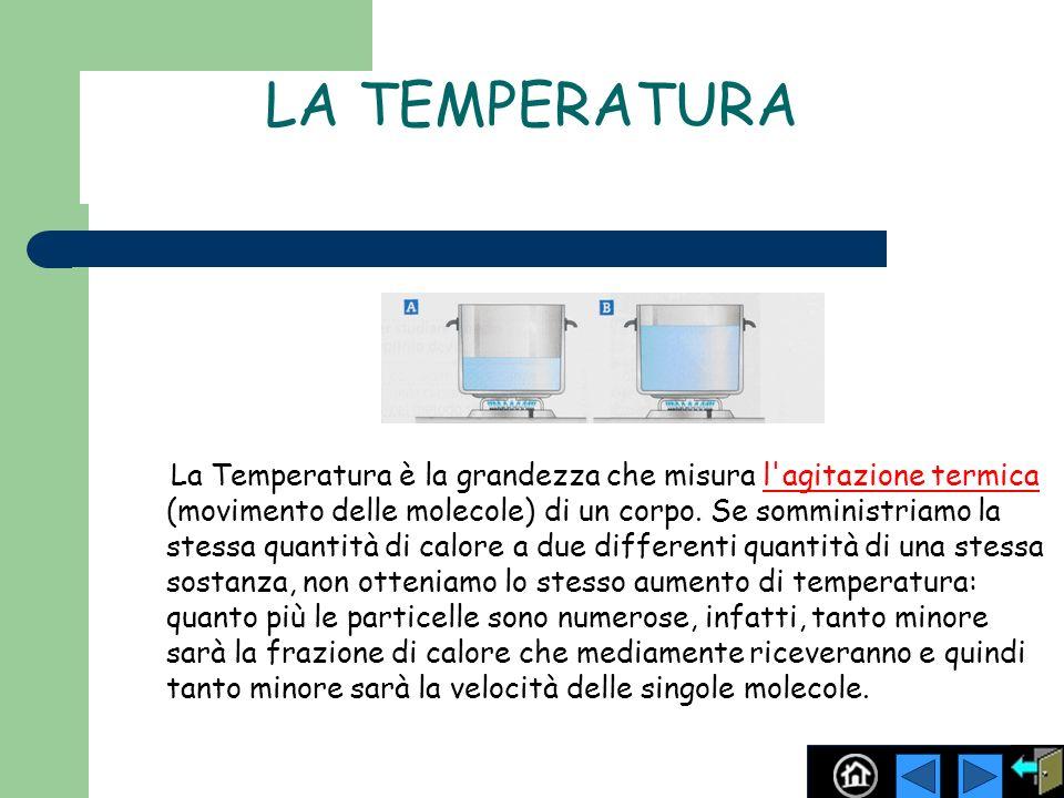 LA TEMPERATURA La Temperatura è la grandezza che misura l'agitazione termica (movimento delle molecole) di un corpo. Se somministriamo la stessa quant