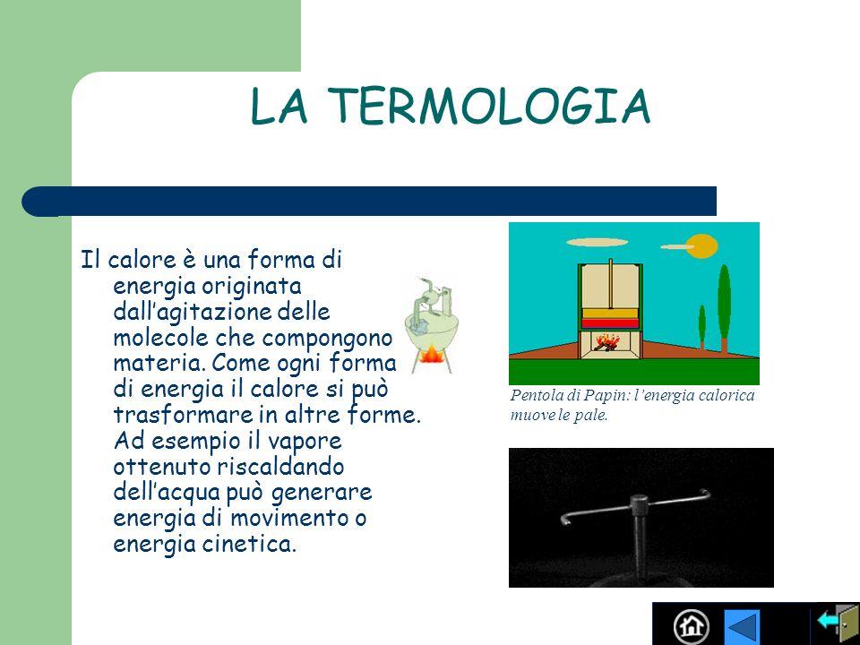 LA TERMOLOGIA Il calore è una forma di energia originata dallagitazione delle molecole che compongono la materia. Come ogni forma di energia il calore