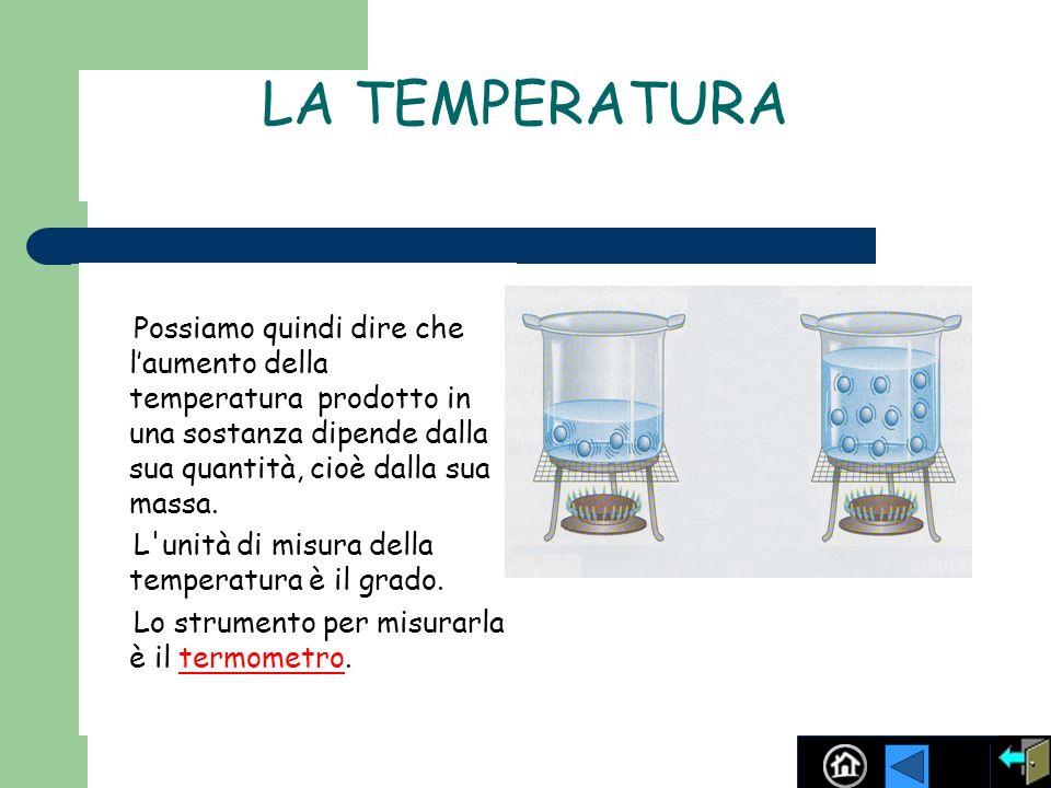 LA TEMPERATURA Possiamo quindi dire che laumento della temperatura prodotto in una sostanza dipende dalla sua quantità, cioè dalla sua massa. L'unità