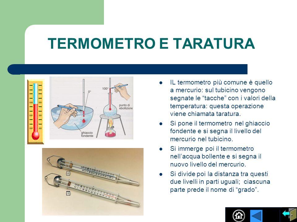 TERMOMETRO E TARATURA IL termometro più comune è quello a mercurio: sul tubicino vengono segnate le tacche con i valori della temperatura: questa oper