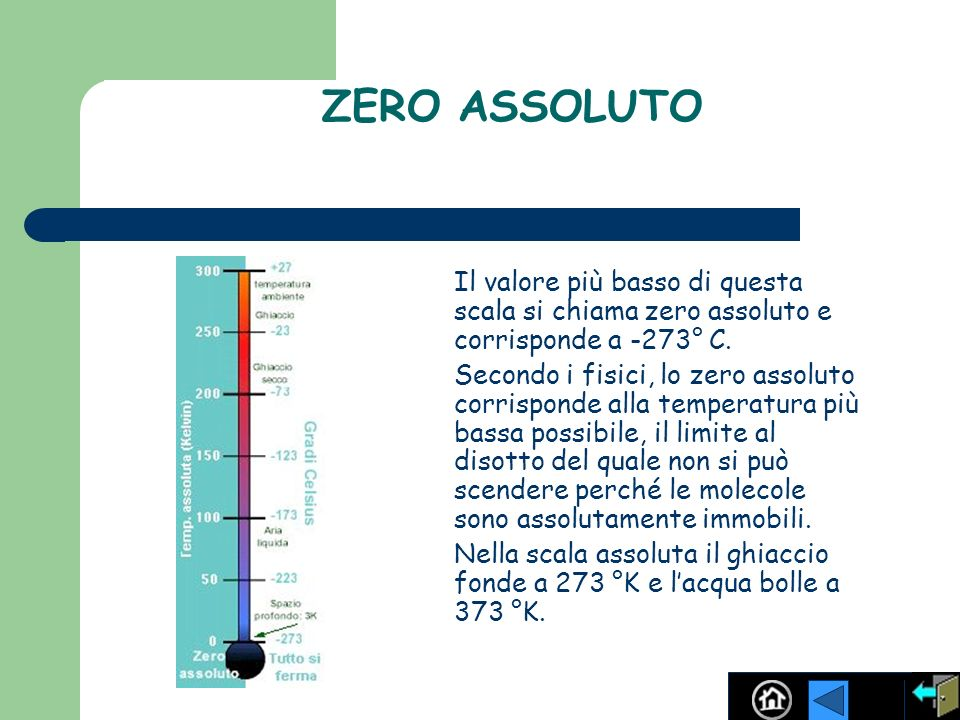 ZERO ASSOLUTO Il valore più basso di questa scala si chiama zero assoluto e corrisponde a -273° C. Secondo i fisici, lo zero assoluto corrisponde alla