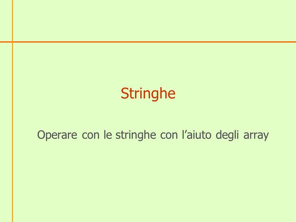Stringhe Operare con le stringhe con laiuto degli array