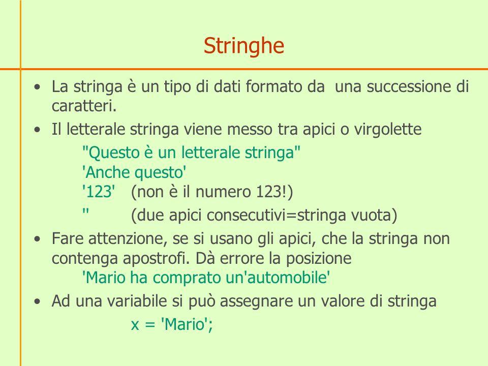 Stringhe La stringa è un tipo di dati formato da una successione di caratteri.