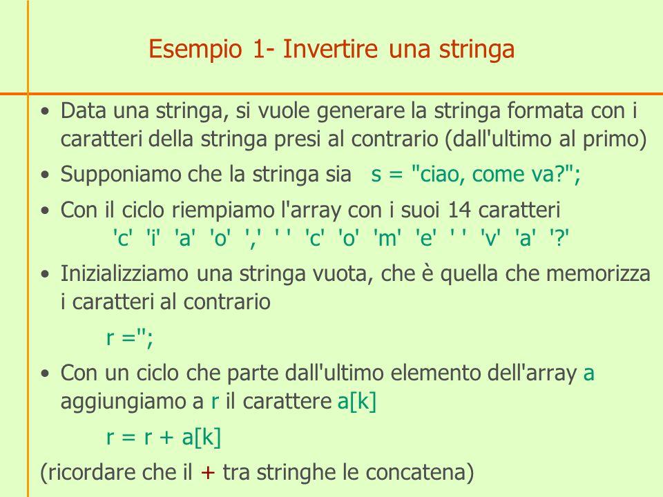 Esempio 1- Invertire una stringa Data una stringa, si vuole generare la stringa formata con i caratteri della stringa presi al contrario (dall ultimo al primo) Supponiamo che la stringa sias = ciao, come va? ; Con il ciclo riempiamo l array con i suoi 14 caratteri c i a o , c o m e v a ? Inizializziamo una stringa vuota, che è quella che memorizza i caratteri al contrario r = ; Con un ciclo che parte dall ultimo elemento dell array a aggiungiamo a r il carattere a[k] r = r + a[k] (ricordare che il + tra stringhe le concatena)