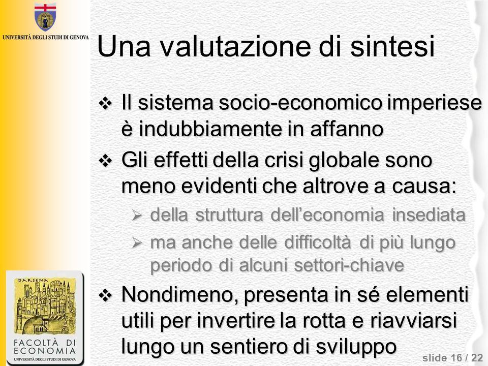 slide 16 / 22 Una valutazione di sintesi Il sistema socio-economico imperiese è indubbiamente in affanno Il sistema socio-economico imperiese è indubb