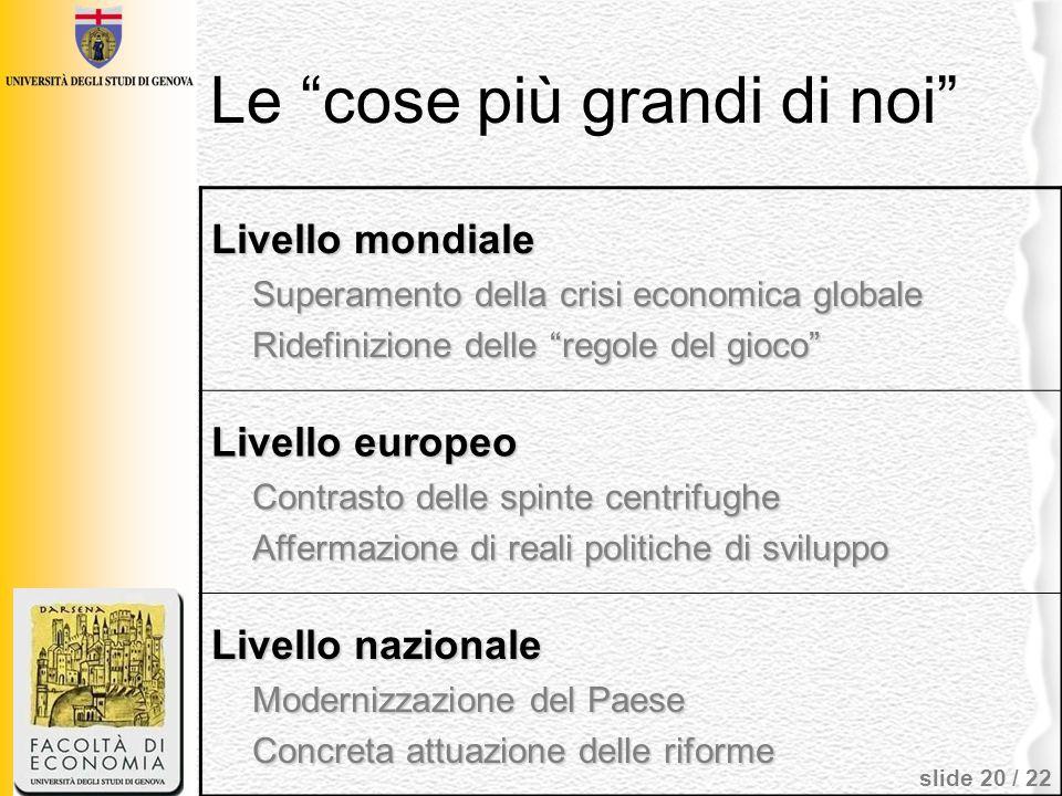 slide 20 / 22 Le cose più grandi di noi Livello mondiale Superamento della crisi economica globale Ridefinizione delle regole del gioco Livello europe