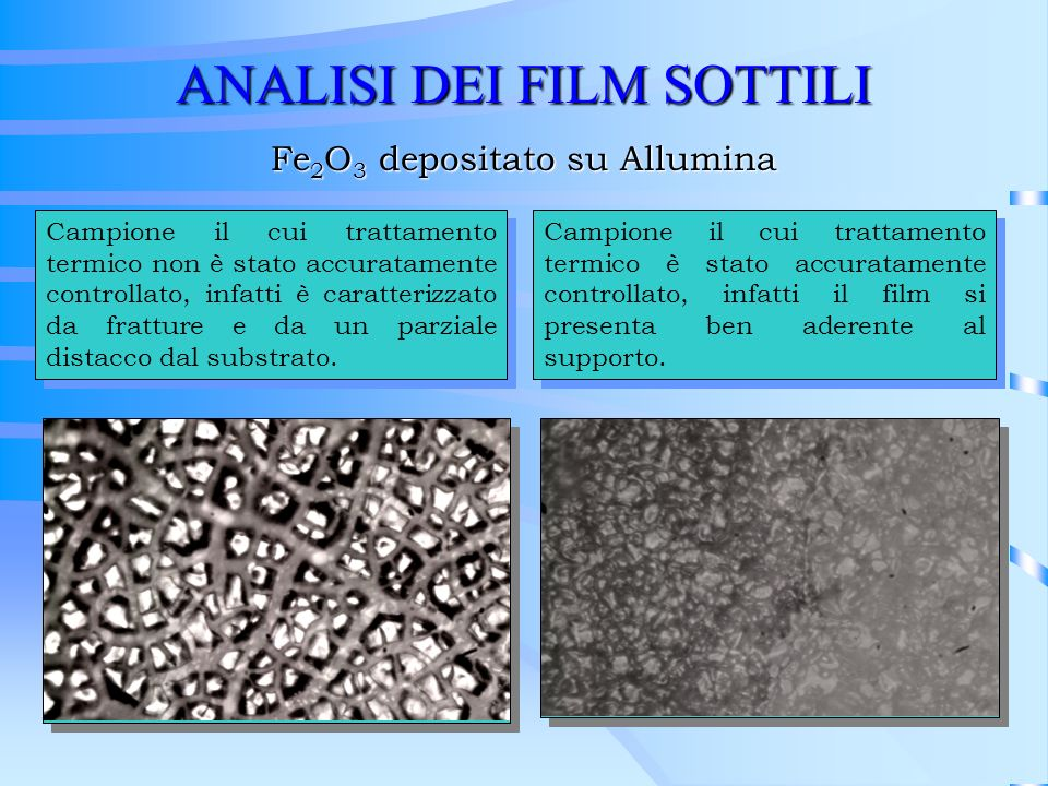 ANALISI DEI FILM SOTTILI Campione il cui trattamento termico non è stato accuratamente controllato, infatti è caratterizzato da fratture e da un parzi