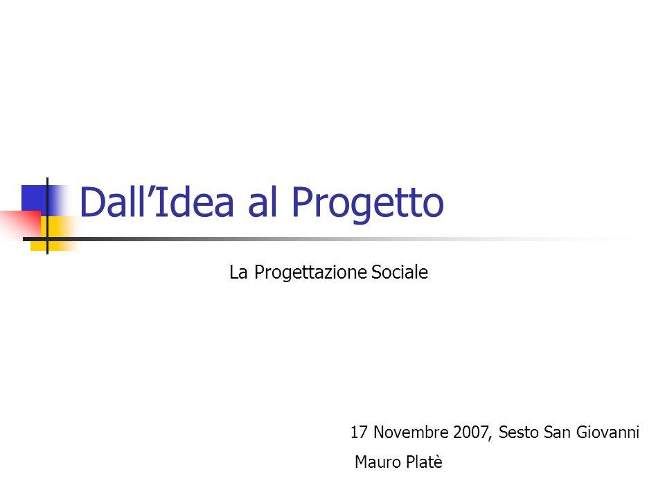 DallIdea al Progetto La Progettazione Sociale 17 Novembre 2007, Sesto San Giovanni Mauro Platè