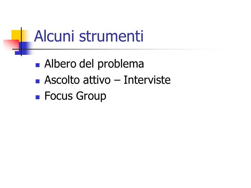 Alcuni strumenti Albero del problema Ascolto attivo – Interviste Focus Group