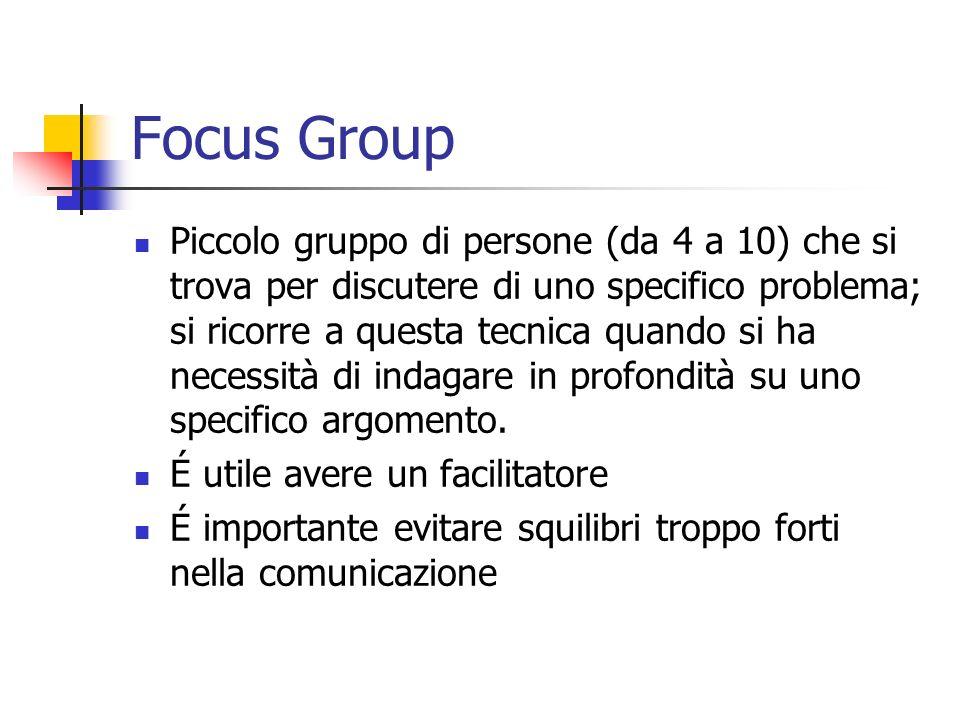 Focus Group Piccolo gruppo di persone (da 4 a 10) che si trova per discutere di uno specifico problema; si ricorre a questa tecnica quando si ha neces