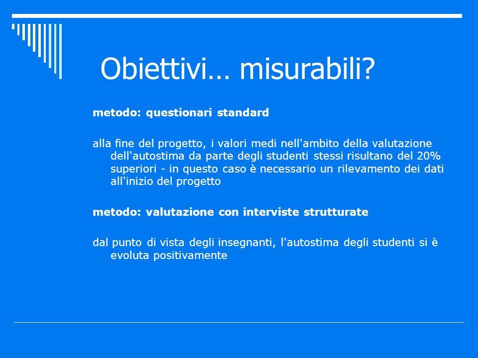 metodo: questionari standard alla fine del progetto, i valori medi nell'ambito della valutazione dell'autostima da parte degli studenti stessi risulta