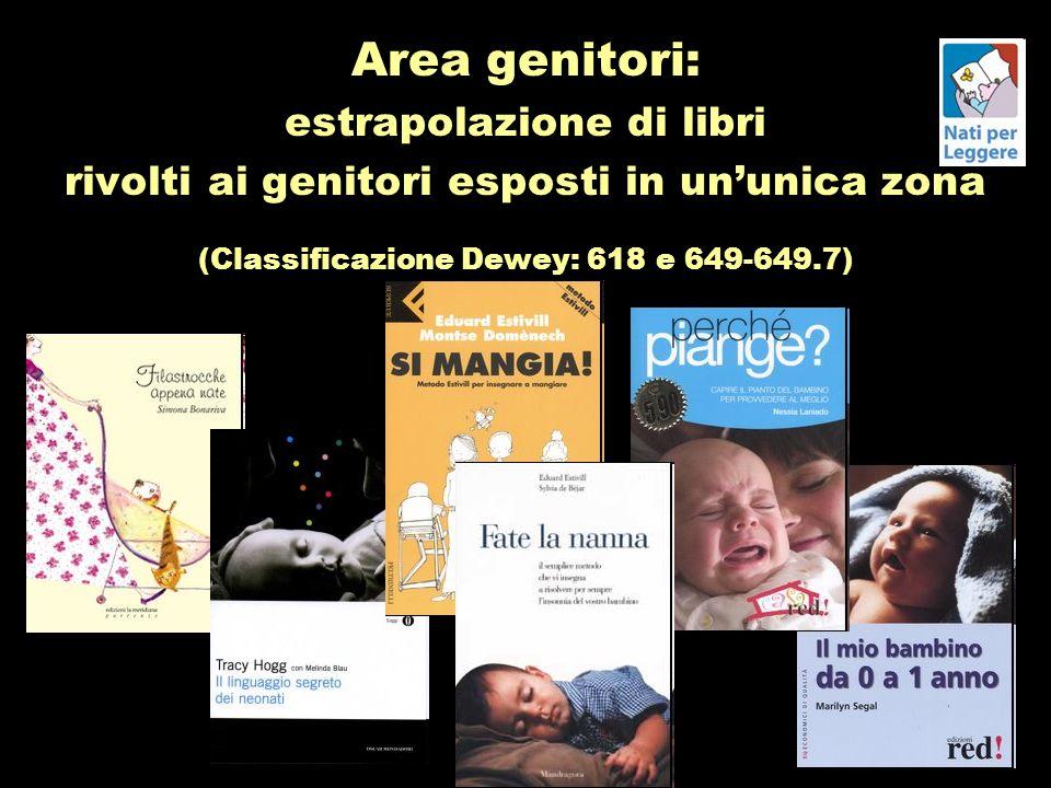 Area genitori: estrapolazione di libri rivolti ai genitori esposti in ununica zona (Classificazione Dewey: 618 e 649-649.7)