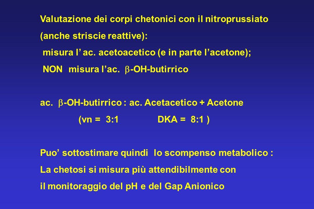 Valutazione dei corpi chetonici con il nitroprussiato (anche striscie reattive): misura l ac. acetoacetico (e in parte lacetone); NON misura lac. -OH-