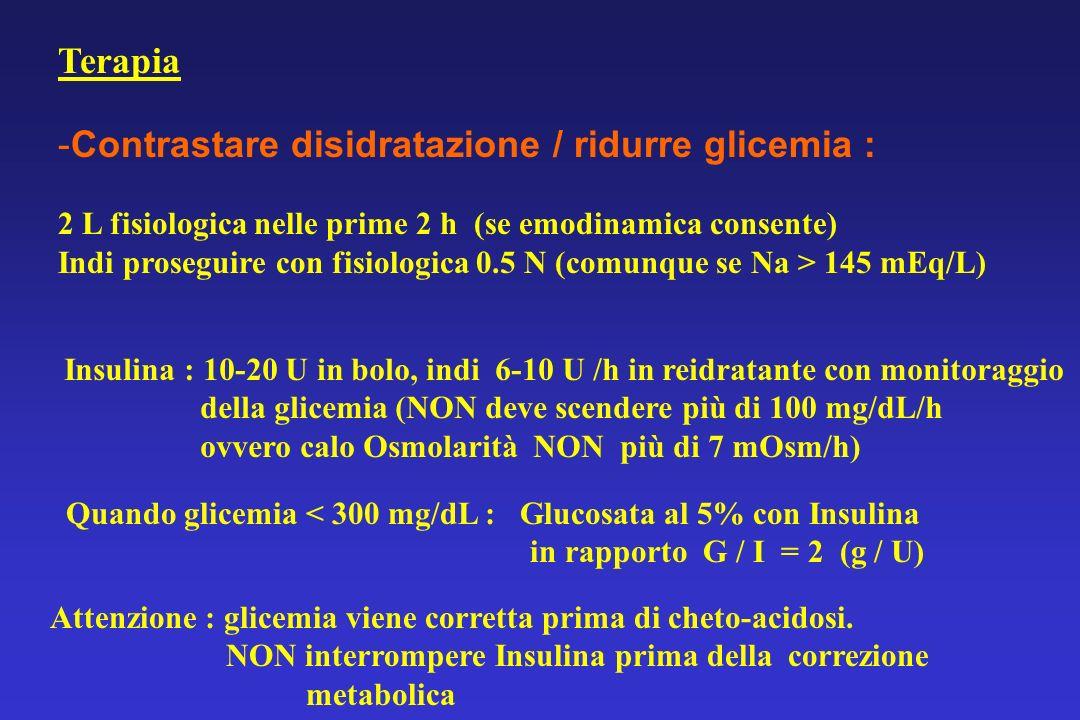 Terapia -Contrastare disidratazione / ridurre glicemia : 2 L fisiologica nelle prime 2 h (se emodinamica consente) Indi proseguire con fisiologica 0.5