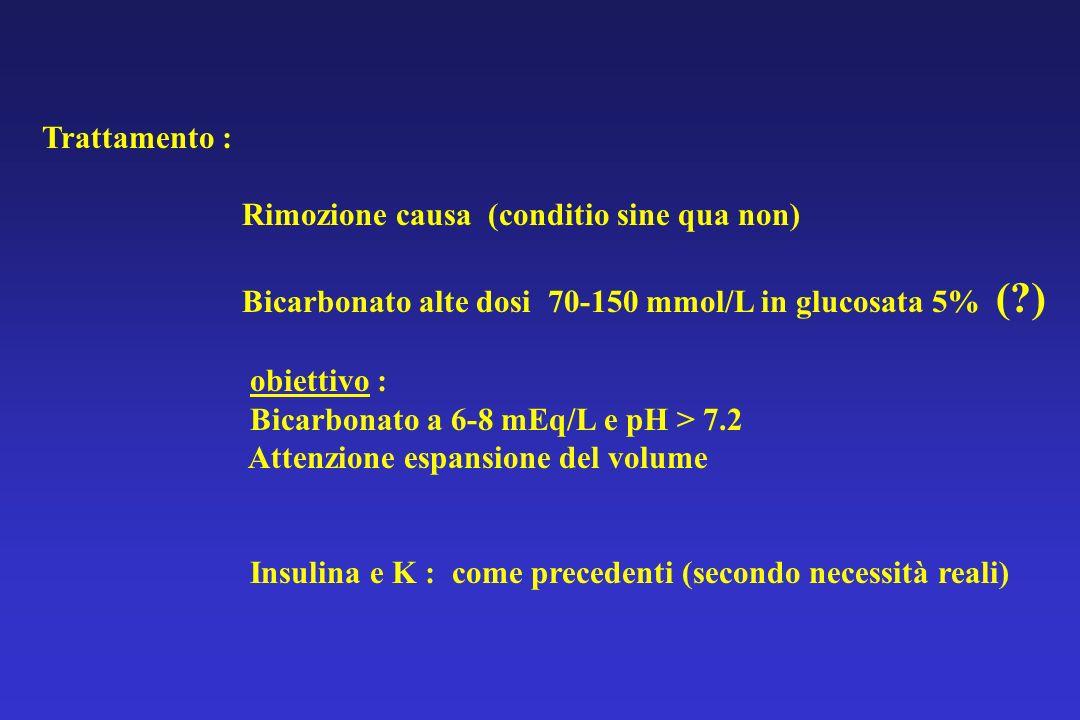 Trattamento : Rimozione causa (conditio sine qua non) Bicarbonato alte dosi 70-150 mmol/L in glucosata 5% (?) obiettivo : Bicarbonato a 6-8 mEq/L e pH
