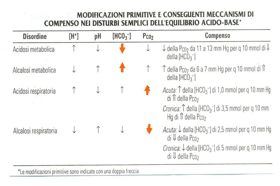Chetoacidosi diabetica Valutazione di Sodiemia e Kaliemia Liperglicemia richiama acqua dal comparto intracellulare a quello extracellulare, per cui Na (p) e K (p) sono diluiti Lacidosi metabolica determina lo scambio K + - H + (richiama K + in extra-, favorisce ingresso H + in intra- ) Correzione di [Na + ] sierico per la glicemia: + 1.6 mEq ogni 100 mg/dl di glucosio sopra i 100 mg/dl Correzione di [K + ] sierico per il pH: - 0.6 mEq/L ogni riduzione di 0.1 di pH