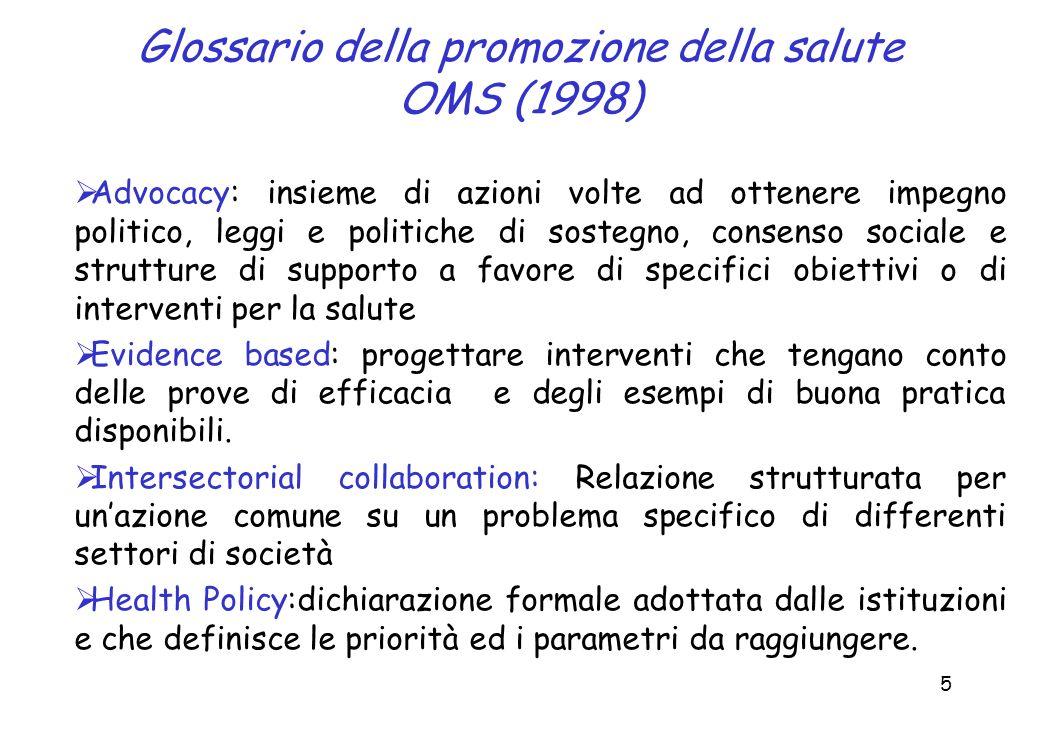5 Glossario della promozione della salute OMS (1998) Advocacy: insieme di azioni volte ad ottenere impegno politico, leggi e politiche di sostegno, co
