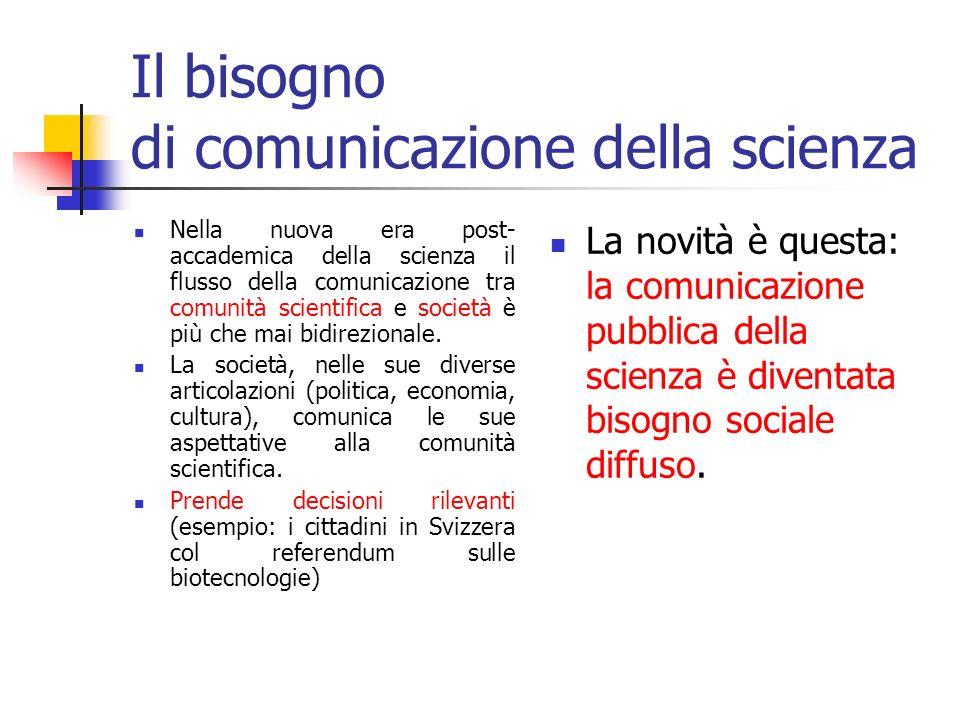 Comunicazione della scienza e (è) democrazia Il pubblico dei non esperti ha bisogno di essere comunicato Cresce limpatto sociale della scienza e della tecnologia Le informazioni scientifiche per il grande pubblico sono unesigenza primaria di democrazia