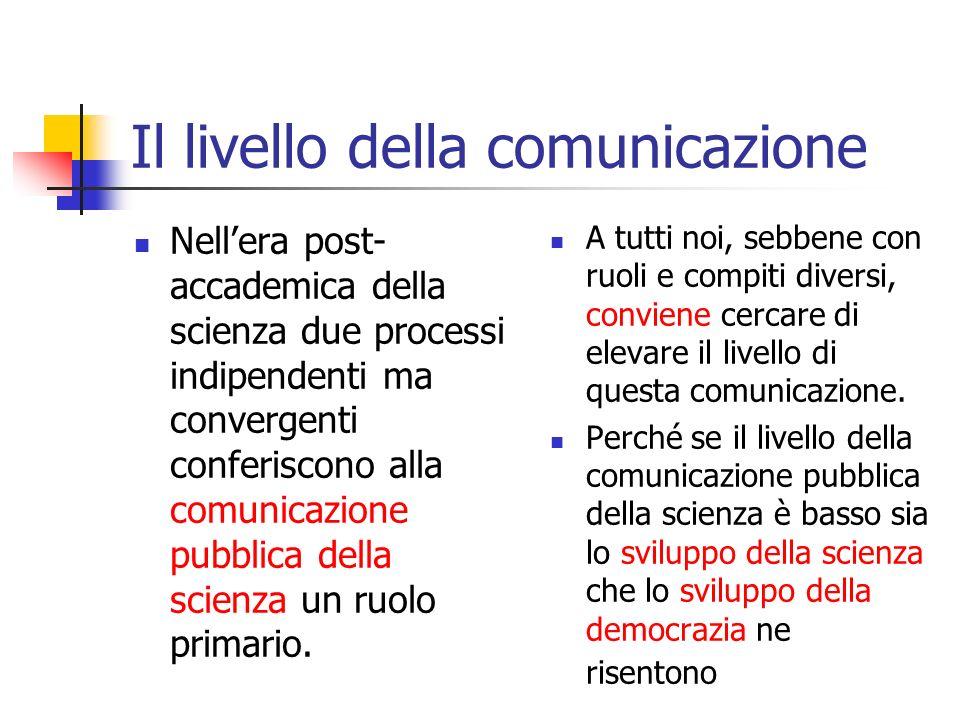 Il bisogno di comunicazione della scienza Nella nuova era post- accademica della scienza il flusso della comunicazione tra comunità scientifica e società è più che mai bidirezionale.