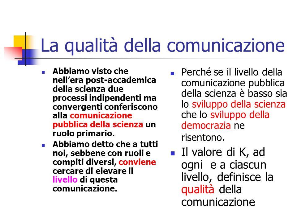 Il valore di k Le buone tecniche di comunicazione devono cercare di minimizzare - in ciascun contesto il valore di k