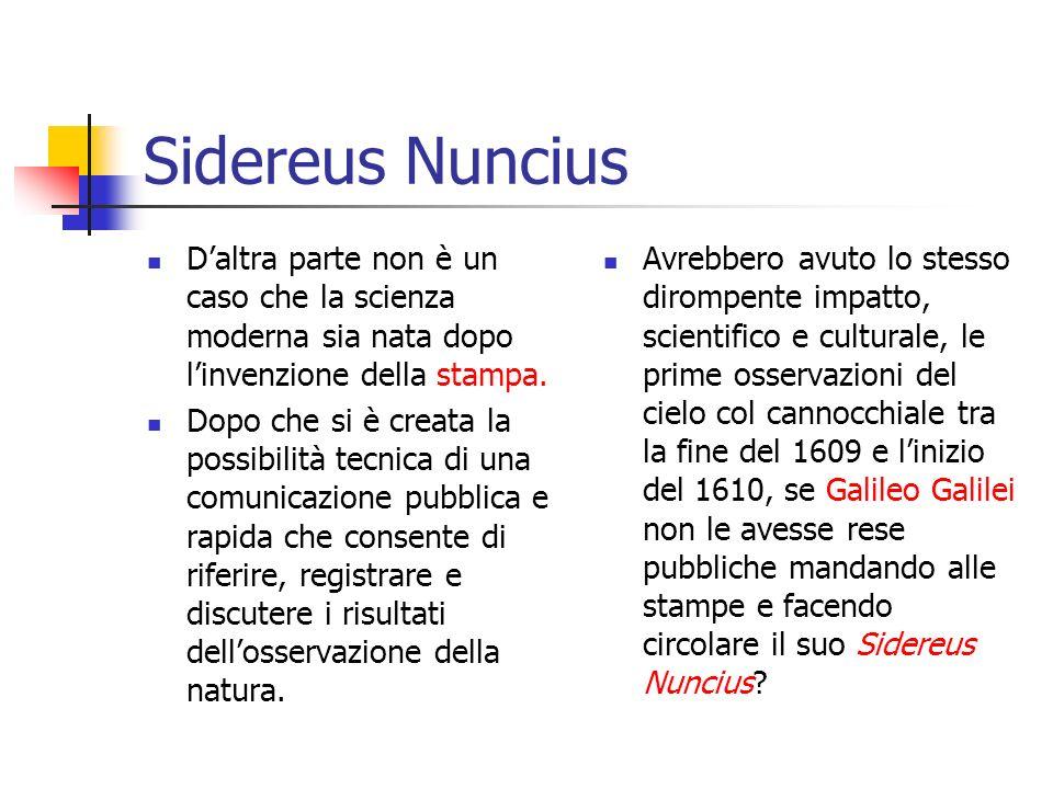 Sidereus Nuncius Daltra parte non è un caso che la scienza moderna sia nata dopo linvenzione della stampa.