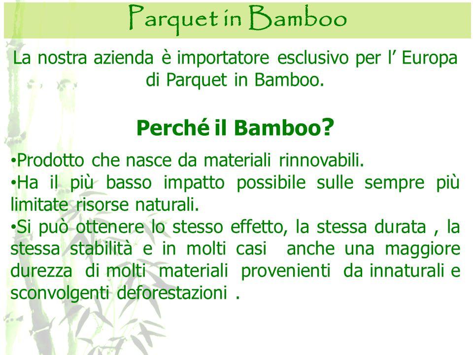 La nostra azienda è importatore esclusivo per l Europa di Parquet in Bamboo. Perché il Bamboo ? Prodotto che nasce da materiali rinnovabili. Ha il più