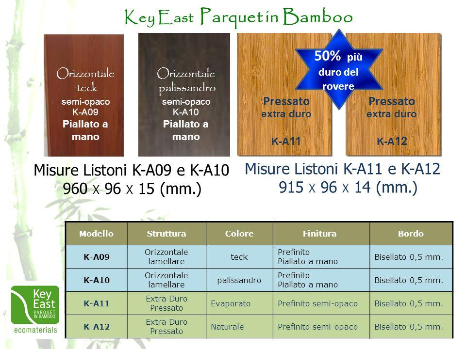 Key East Parquet in Bamboo ModelloStrutturaColoreFinitura Bordo K-A09 Orizzontale lamellare teck Prefinito Piallato a mano Bisellato 0,5 mm. K-A10 Ori