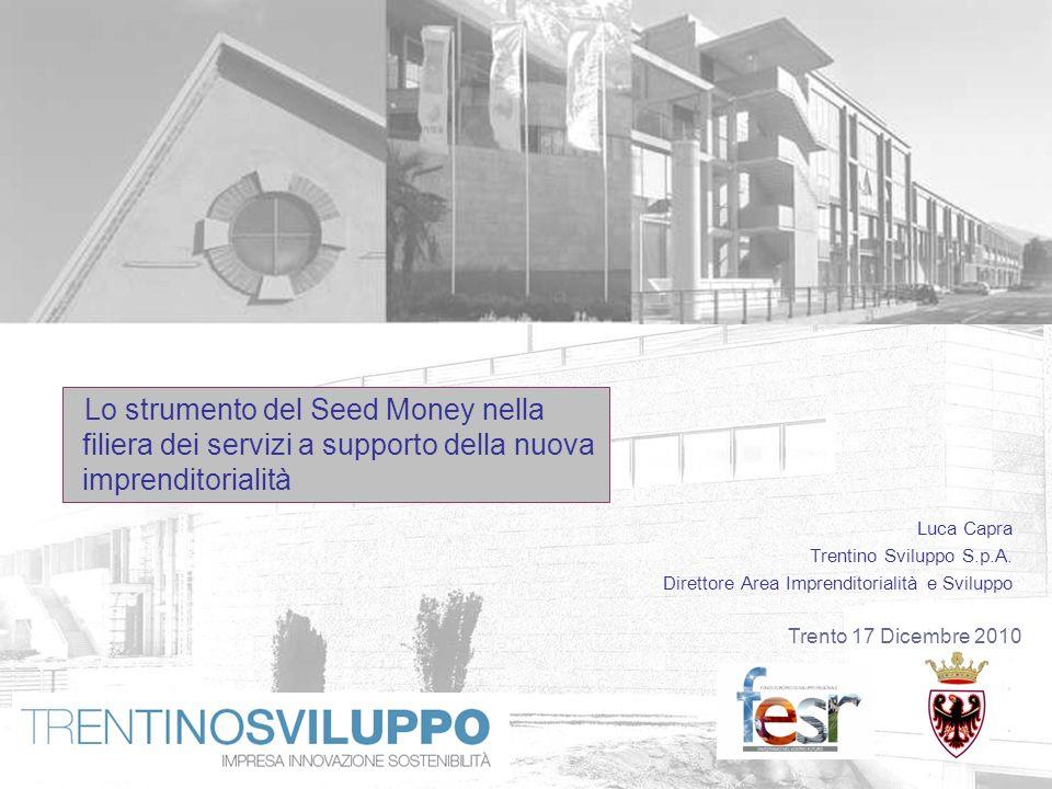 Trento 17 Dicembre 2010 Luca Capra Trentino Sviluppo S.p.A. Direttore Area Imprenditorialità e Sviluppo Lo strumento del Seed Money nella filiera dei