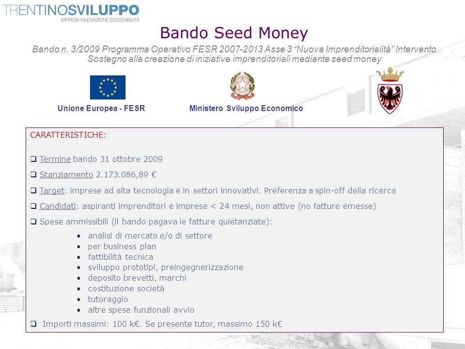 Bando Seed Money Bando n. 3/2009 Programma Operativo FESR 2007-2013 Asse 3 Nuova Imprenditorialità Intervento Sostegno alla creazione di iniziative im
