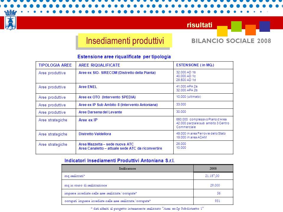 BILANCIO SOCIALE 2008 risultati Insediamenti produttivi Indicatori Insediamenti Produttivi Antoniana S.r.l. Indicatore2008 mq realizzati* 21.187,00 mq