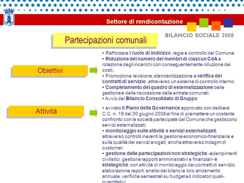 BILANCIO SOCIALE 2008 Partecipazioni comunali Obiettivi Attività Rafforzare il ruolo di indirizzo, regia e controllo del Comune; Riduzione del numero