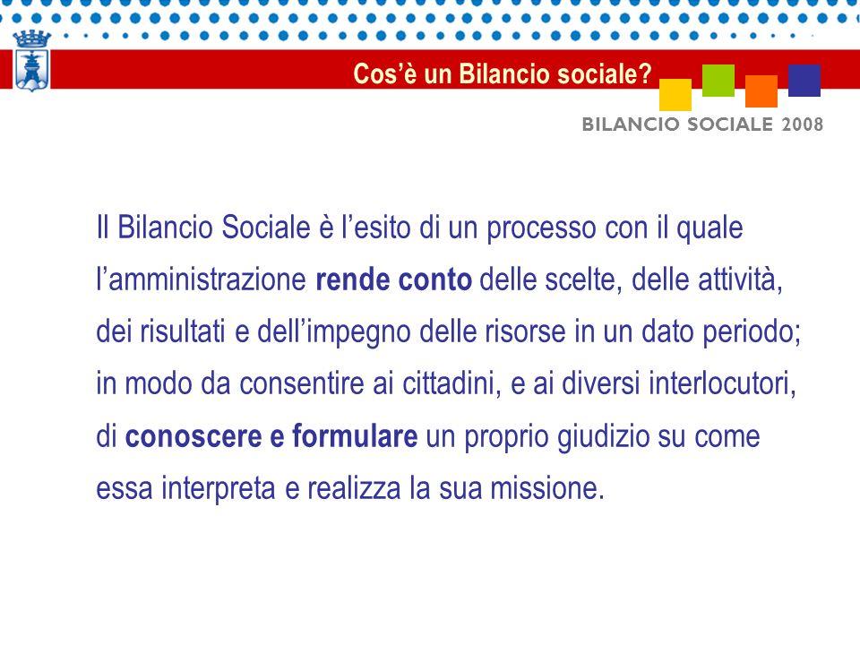 BILANCIO SOCIALE 2008 Il Bilancio Sociale è lesito di un processo con il quale lamministrazione rende conto delle scelte, delle attività, dei risultat