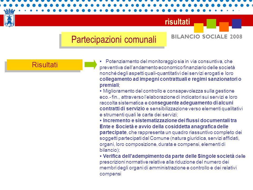 BILANCIO SOCIALE 2008 risultati Risultati Potenziamento del monitoraggio sia in via consuntiva, che preventiva dellandamento economico finanziario del
