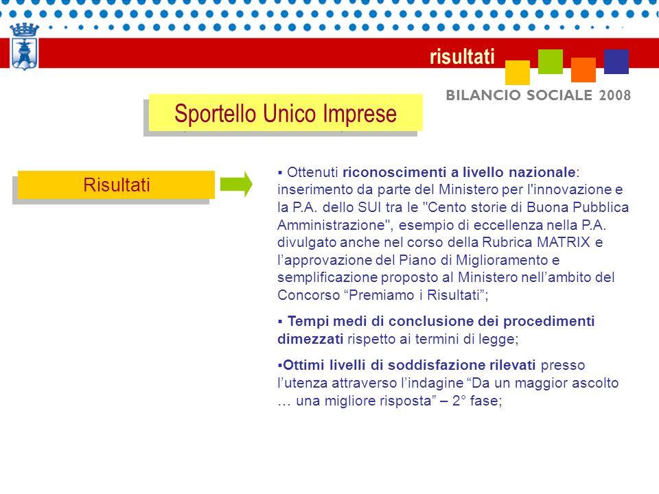 BILANCIO SOCIALE 2008 risultati Risultati Ottenuti riconoscimenti a livello nazionale: inserimento da parte del Ministero per l'innovazione e la P.A.