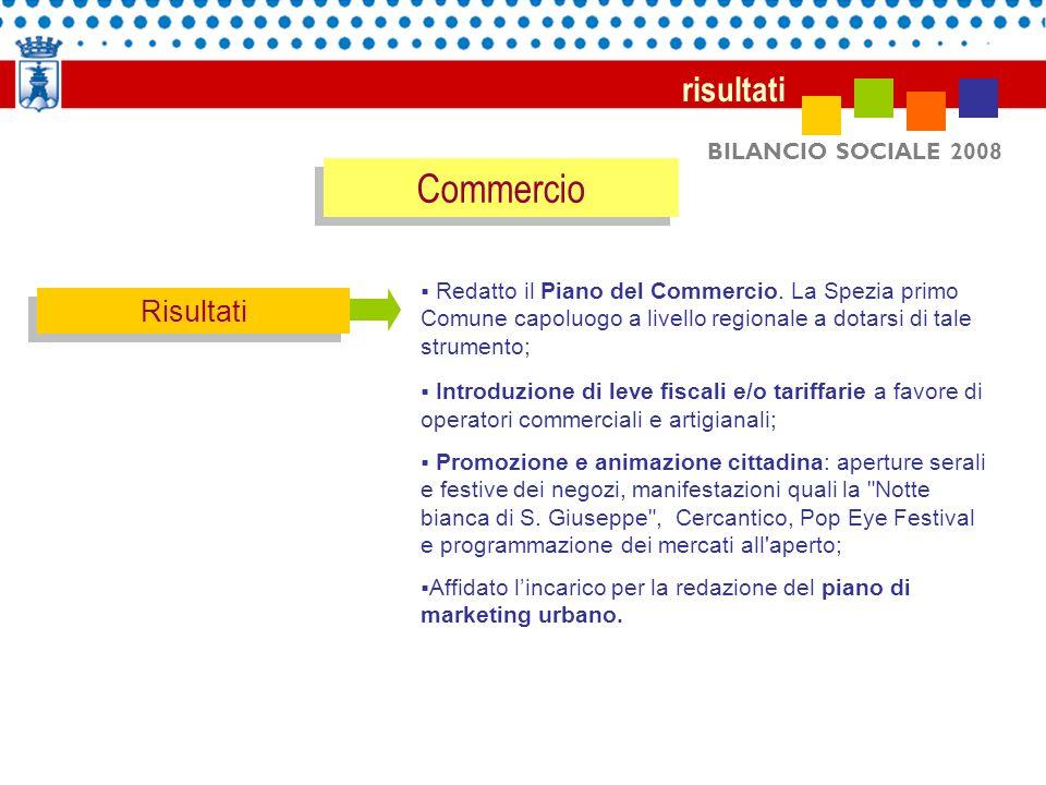 BILANCIO SOCIALE 2008 risultati Risultati Redatto il Piano del Commercio. La Spezia primo Comune capoluogo a livello regionale a dotarsi di tale strum
