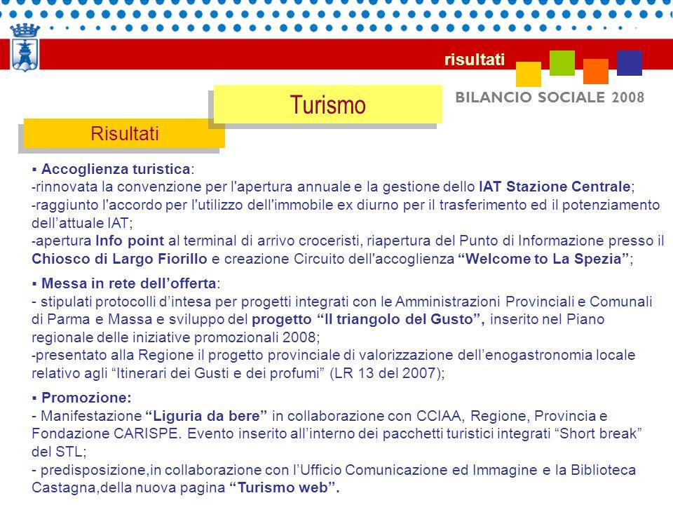 BILANCIO SOCIALE 2008 Risultati Accoglienza turistica: - rinnovata la convenzione per l'apertura annuale e la gestione dello IAT Stazione Centrale; -