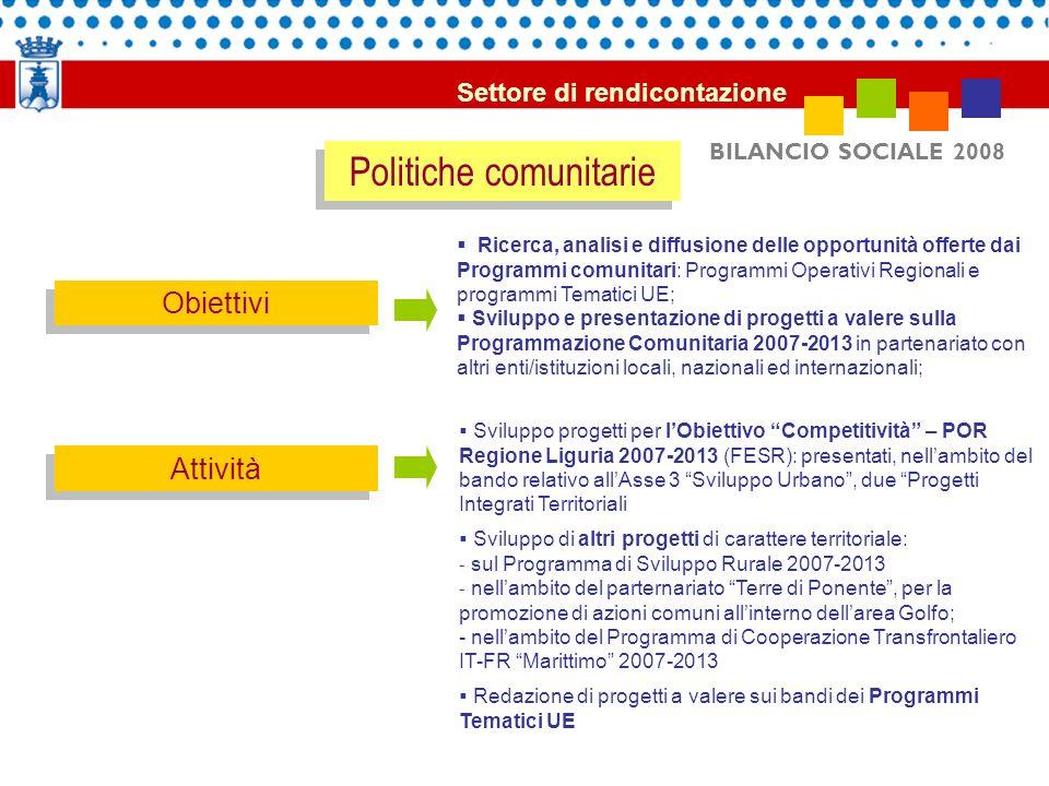 BILANCIO SOCIALE 2008 Politiche comunitarie Obiettivi Attività Ricerca, analisi e diffusione delle opportunità offerte dai Programmi comunitari: Progr
