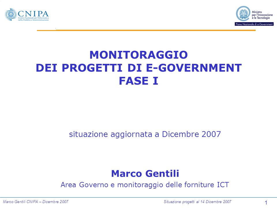 2 Marco Gentili CNIPA – Dicembre 2007Situazione progetti al 14 Dicembre 2007 Area Governo e monitoraggio delle forniture ICT