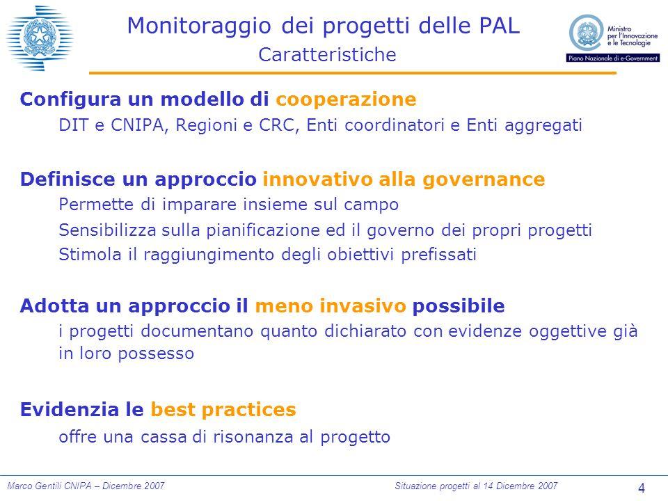 75 Marco Gentili CNIPA – Dicembre 2007Situazione progetti al 14 Dicembre 2007 DISPONIBILITA DEI SERVIZI NEI CAPOLUOGHI Confronto con le previsioni: tutti i servizi Tot.