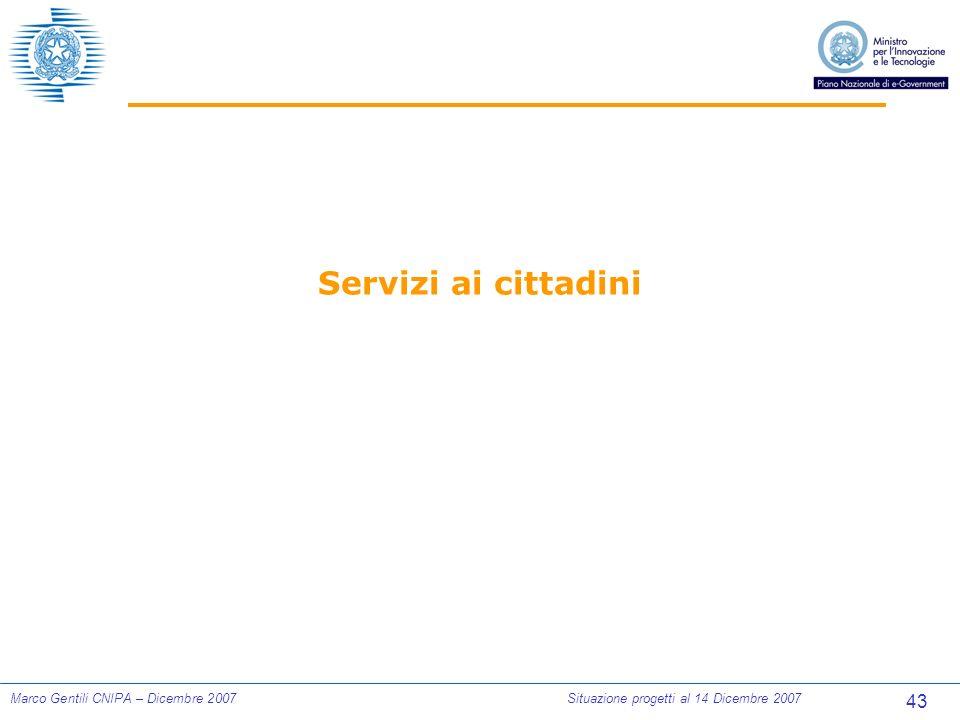 43 Marco Gentili CNIPA – Dicembre 2007Situazione progetti al 14 Dicembre 2007 Servizi ai cittadini