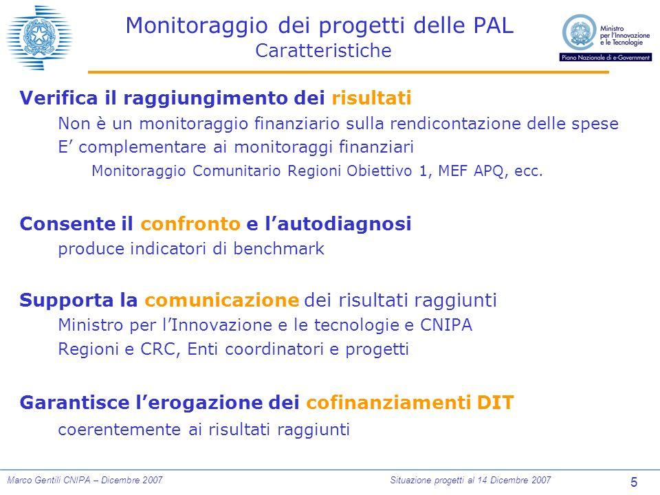 5 Marco Gentili CNIPA – Dicembre 2007Situazione progetti al 14 Dicembre 2007 Monitoraggio dei progetti delle PAL Caratteristiche Verifica il raggiungimento dei risultati Non è un monitoraggio finanziario sulla rendicontazione delle spese E complementare ai monitoraggi finanziari Monitoraggio Comunitario Regioni Obiettivo 1, MEF APQ, ecc.